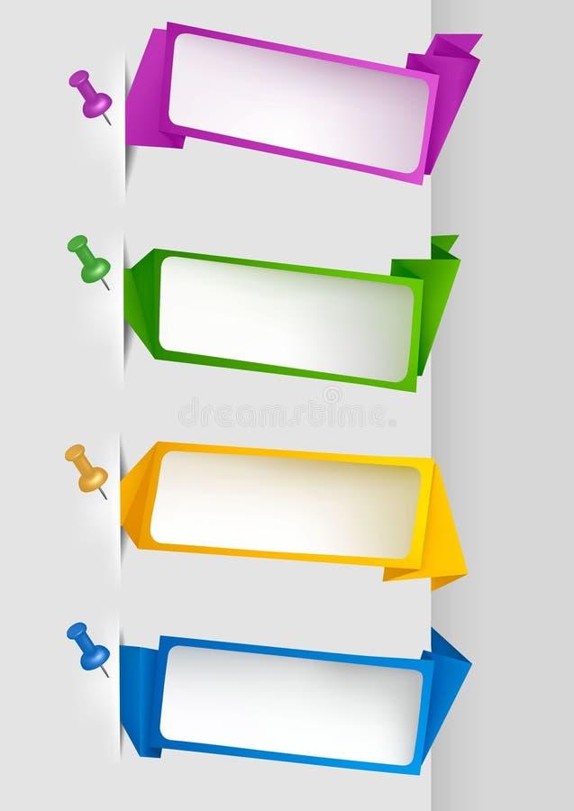 Ajuste com as bandeiras coloridas do papel do origami. Vector o IL ilustração royalty free