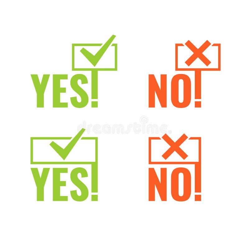 Ajuste com as bandeiras da votação sim e do não nas mãos ilustração stock