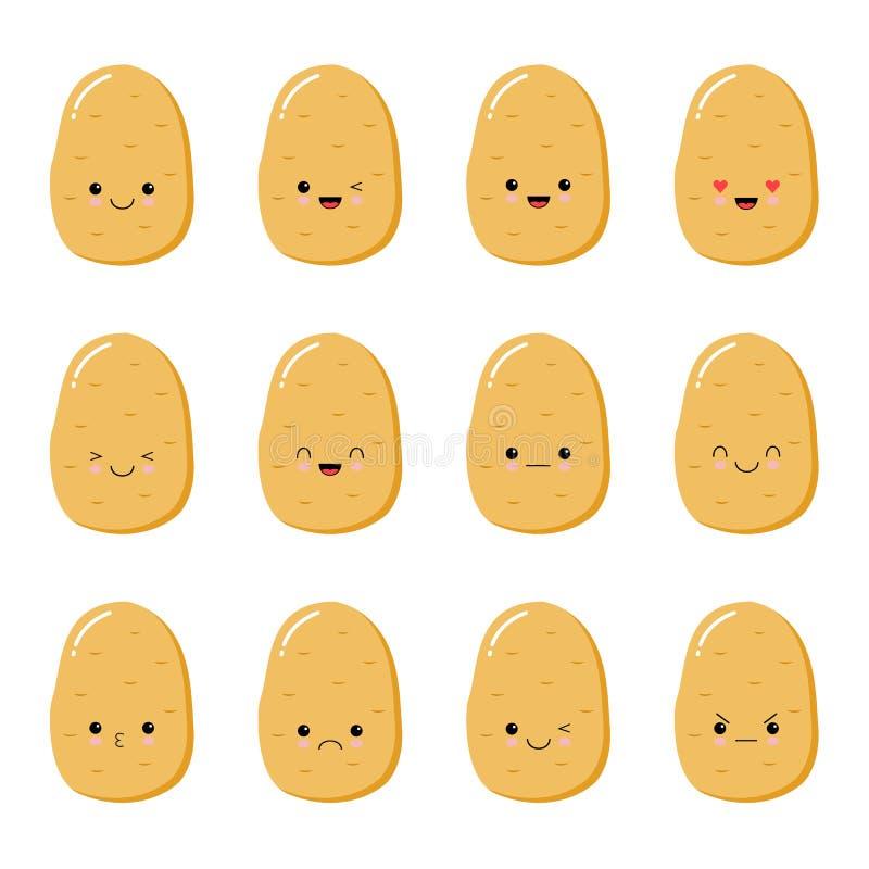 Ajuste com as batatas dos desenhos animados isoladas no branco, fundo com caráteres vegetais bonitos ilustração stock