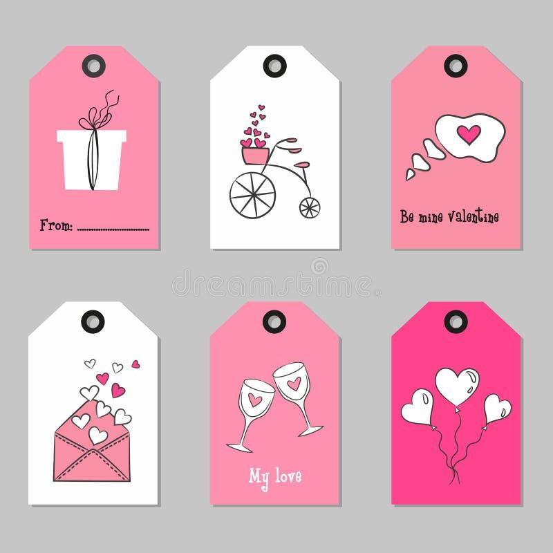Ajuste com as etiquetas do dia do ` s do Valentim ilustração do vetor