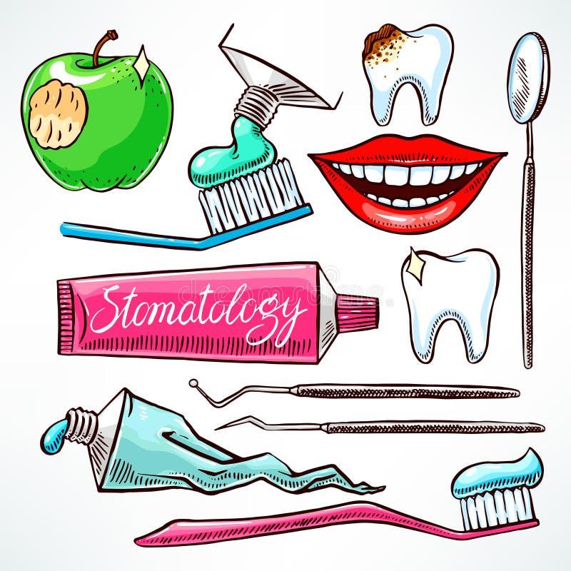 Ajuste com as ferramentas dentais coloridas ilustração do vetor