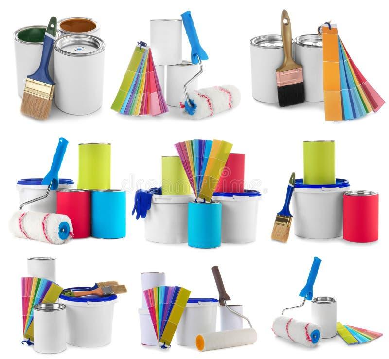 Ajuste com as ferramentas modernas do ` s do decorador foto de stock royalty free