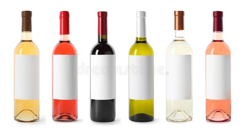 Ajuste com as garrafas de vinho vazias diferentes no fundo branco fotos de stock royalty free