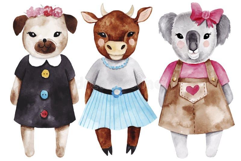 Ajuste com as meninas animais pequenas Ilustrações bonitos da forma da aquarela ilustração do vetor