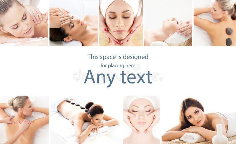 Ajuste com as meninas novas e bonitas que relaxam nos termas Mulher em fazer massagens o salão de beleza Terapia e massagem orien imagens de stock