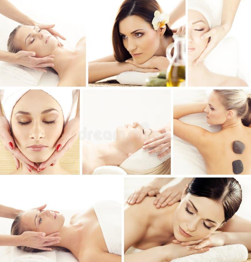 Ajuste com as meninas novas e bonitas que relaxam nos termas Mulher em fazer massagens o salão de beleza Terapia e massagem orien foto de stock