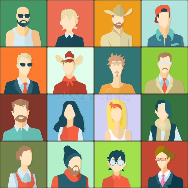 Ajuste com avatars dos povos ilustração stock