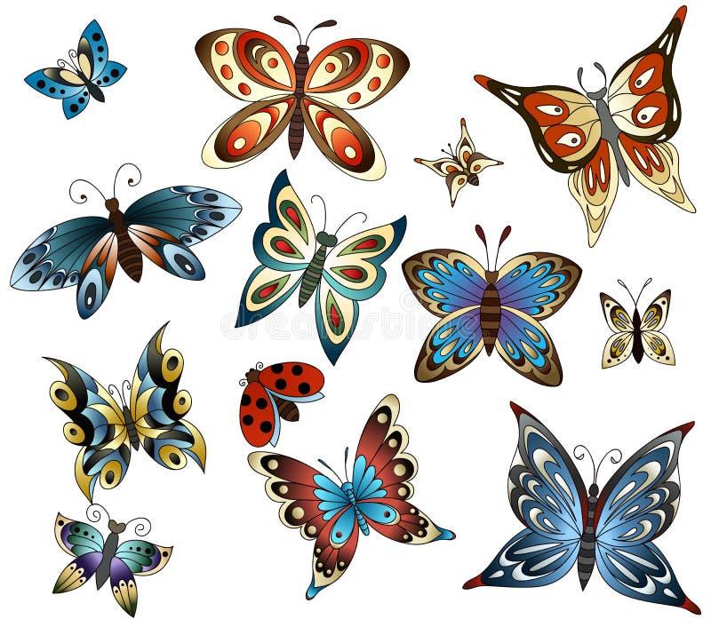 Ajuste com borboletas ilustração stock