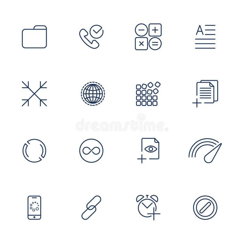 Ajuste com 16 ?cones para o app m?vel, locais, m?bil, software ilustração do vetor