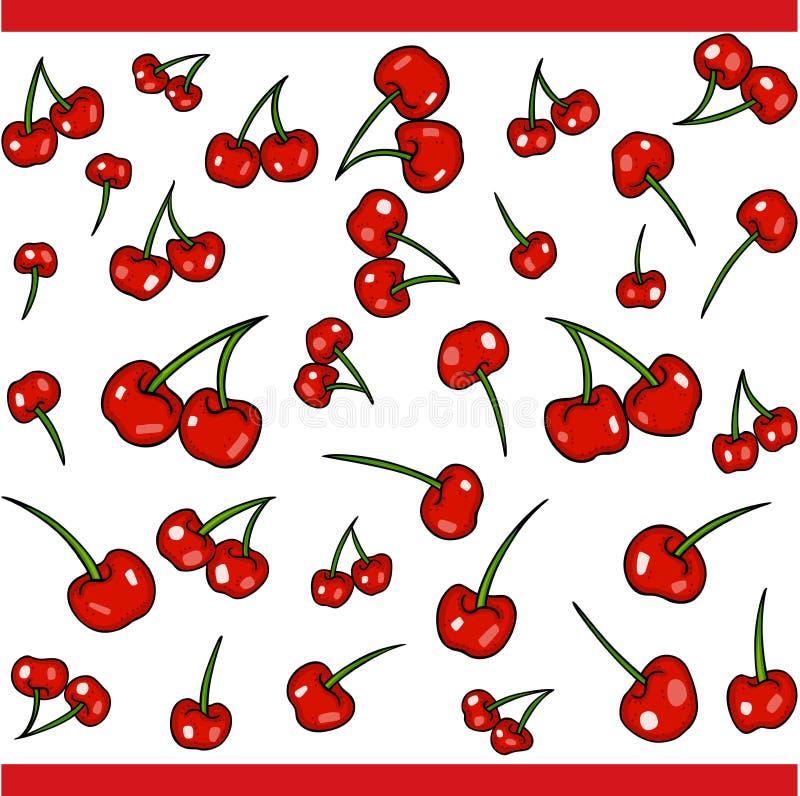 Ajuste com elementos vermelhos das cerejas para o projeto ilustração do vetor