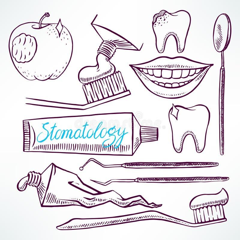 Ajuste com ferramentas dentais ilustração royalty free