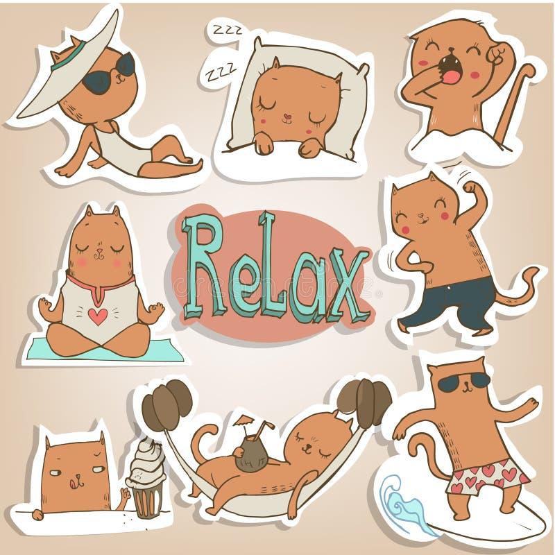 Ajuste com gatinhos dos siames ilustração royalty free