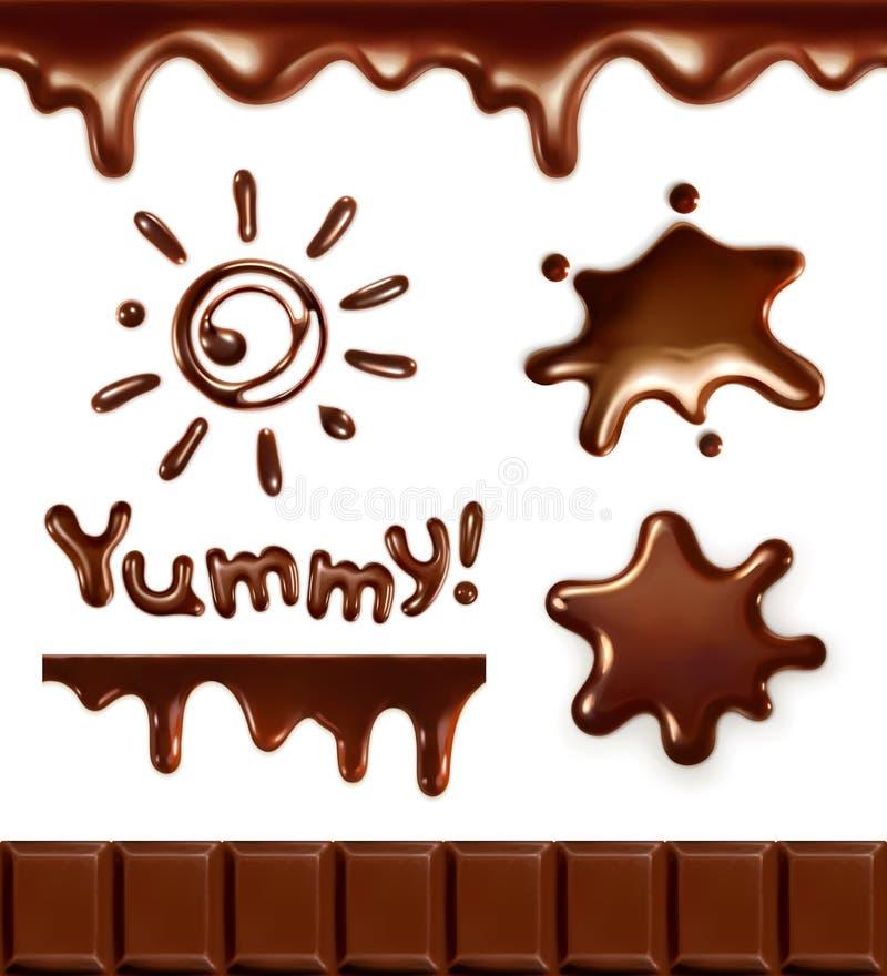 Ajuste com gotas de chocolate ilustração do vetor