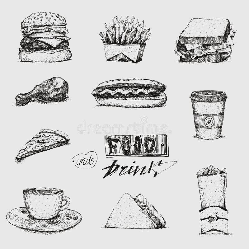 Ajuste com ilustração do fast food Vetor do esboço, restaurante, menu Hamburger, cachorro quente, sanduíche, pizza, batatas frita ilustração stock