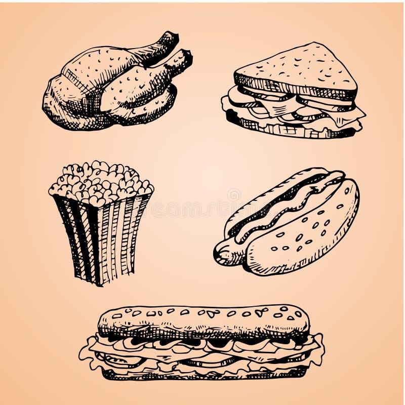 Ajuste com ilustração tirada mão do fast food Ilustração do vetor do esboço Restaurante do fast food, menu do fast food Galinha,  ilustração stock