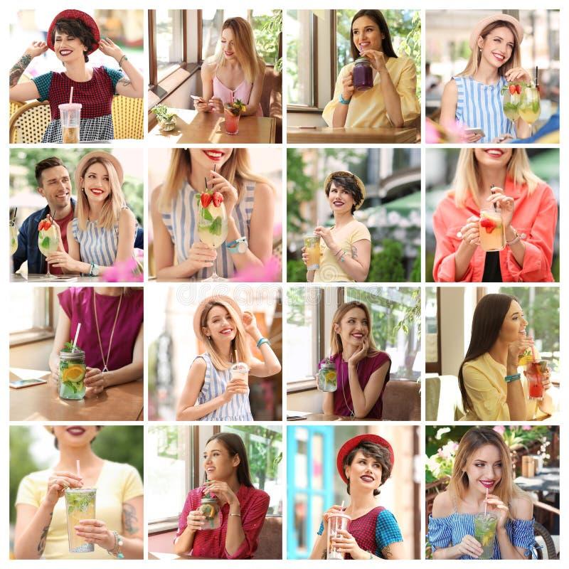 Ajuste com limonada bebendo dos jovens fotos de stock