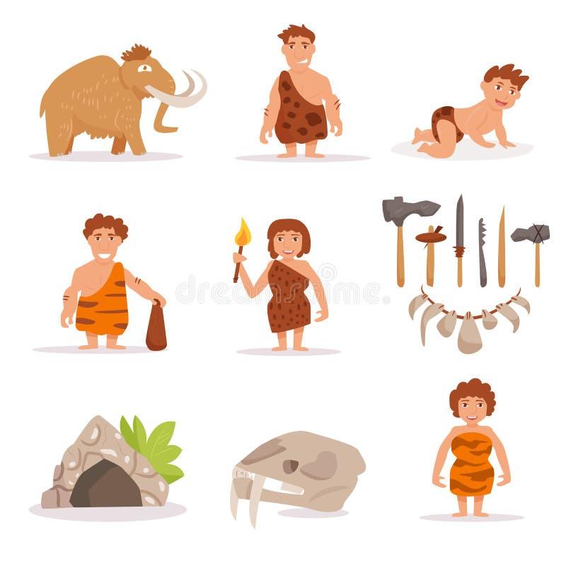Ajuste com mammoth, pessoa da caverna, ilustração royalty free