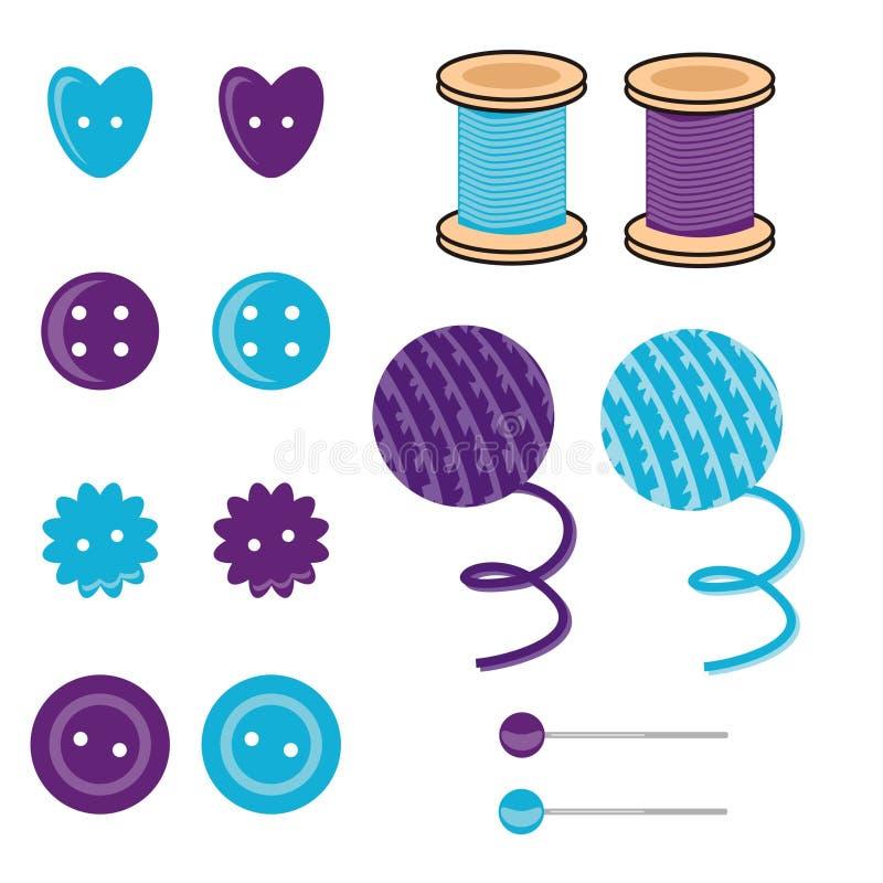 Ajuste com objetos do needlework ilustração stock