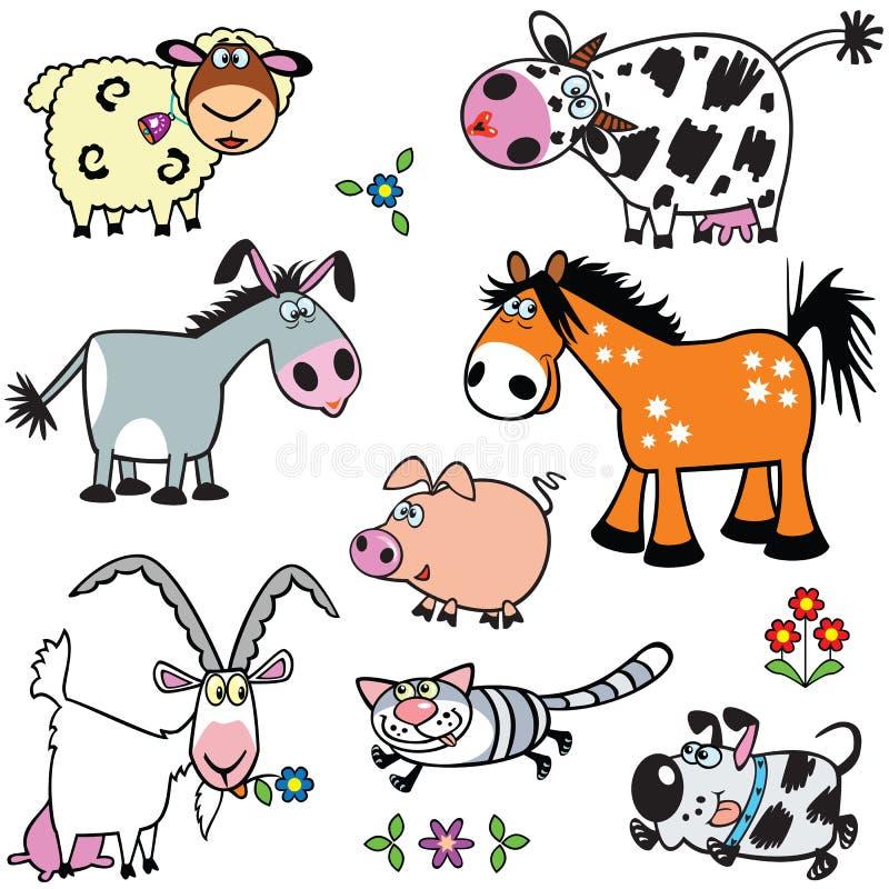 Ajuste com os animais de exploração agrícola dos desenhos animados ilustração stock