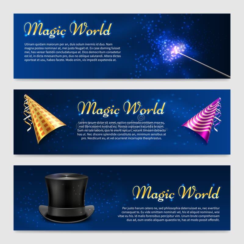 Ajuste com os chapéus mágicos da varinha, do chapéu alto e do partido ilustração stock