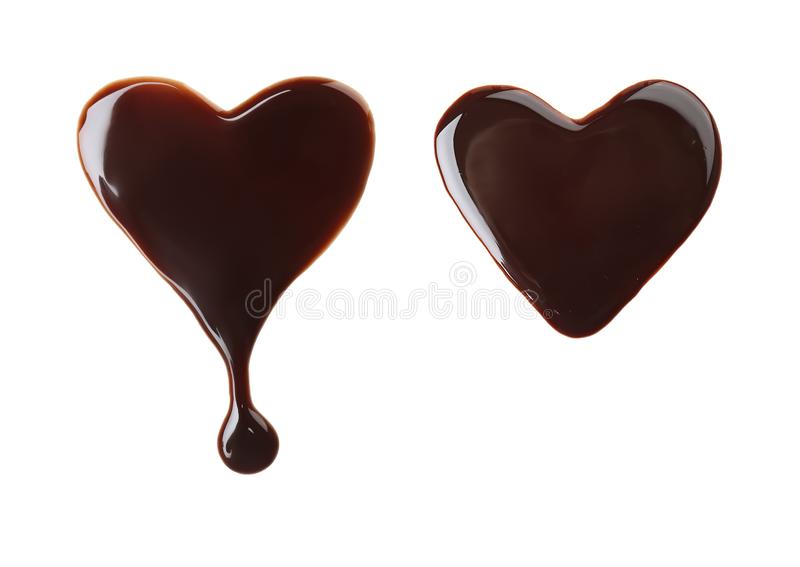 Ajuste com os corações feitos do chocolate derretido imagens de stock royalty free