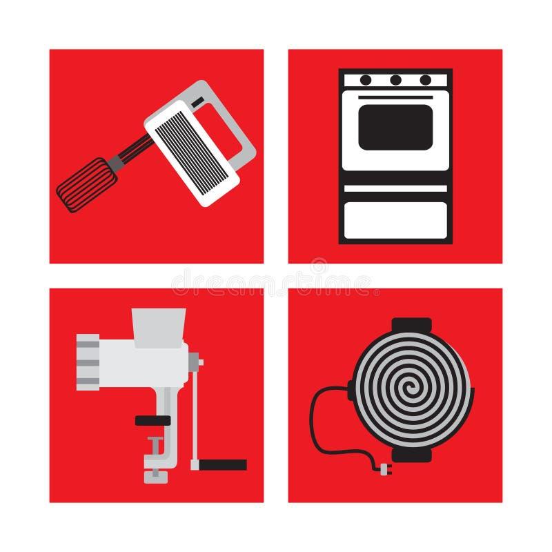 Ajuste com os dispositivos de cozinha no estilo retro, misturador, picadora de carne, fogão de gás, fogão bonde ilustração royalty free