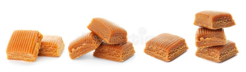 Ajuste com os doces deliciosos do caramelo fotos de stock