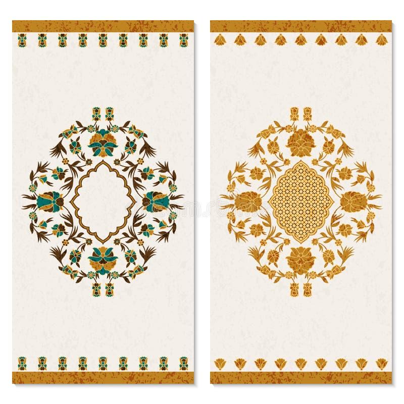 Ajuste com os dois cartões com o ornamento floral do arabesque do ouro projeto para a cópia, tampas, convites ilustração do vetor