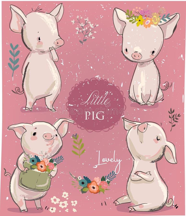 Ajuste com os porcos pequenos dos desenhos animados ilustração do vetor