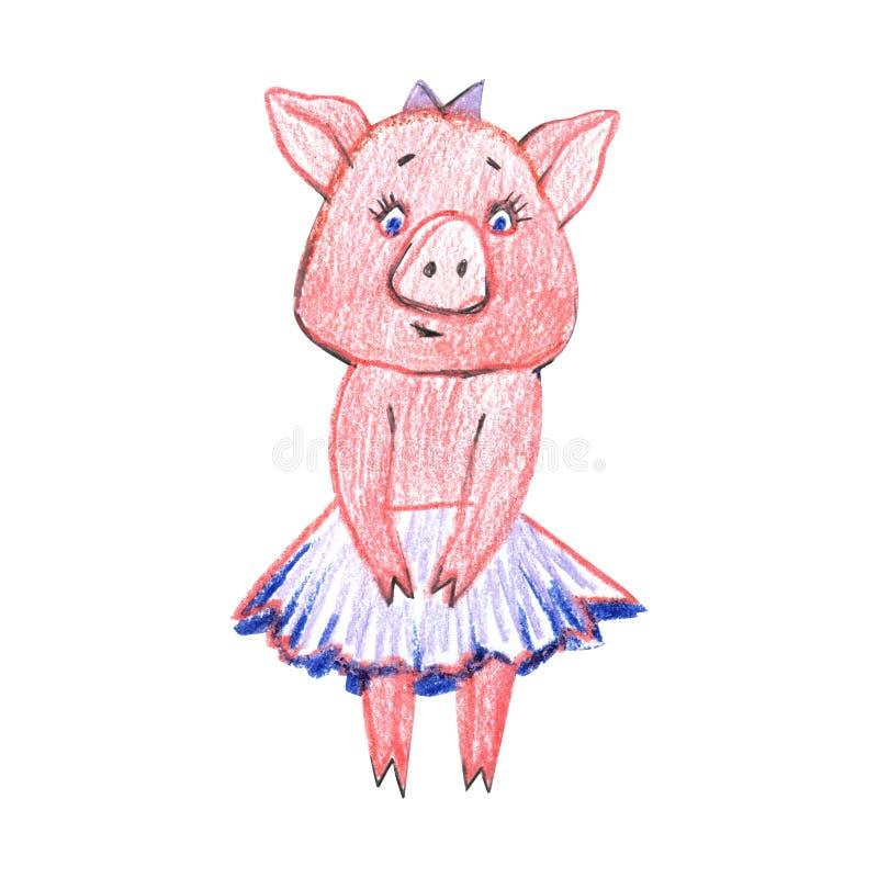 Ajuste com os porcos pequenos dos desenhos animados Porcos pasteis bonitos no fundo branco ilustração royalty free