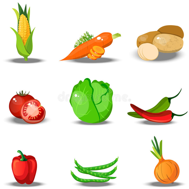 Ajuste com os vegetais healty frescos ilustração royalty free