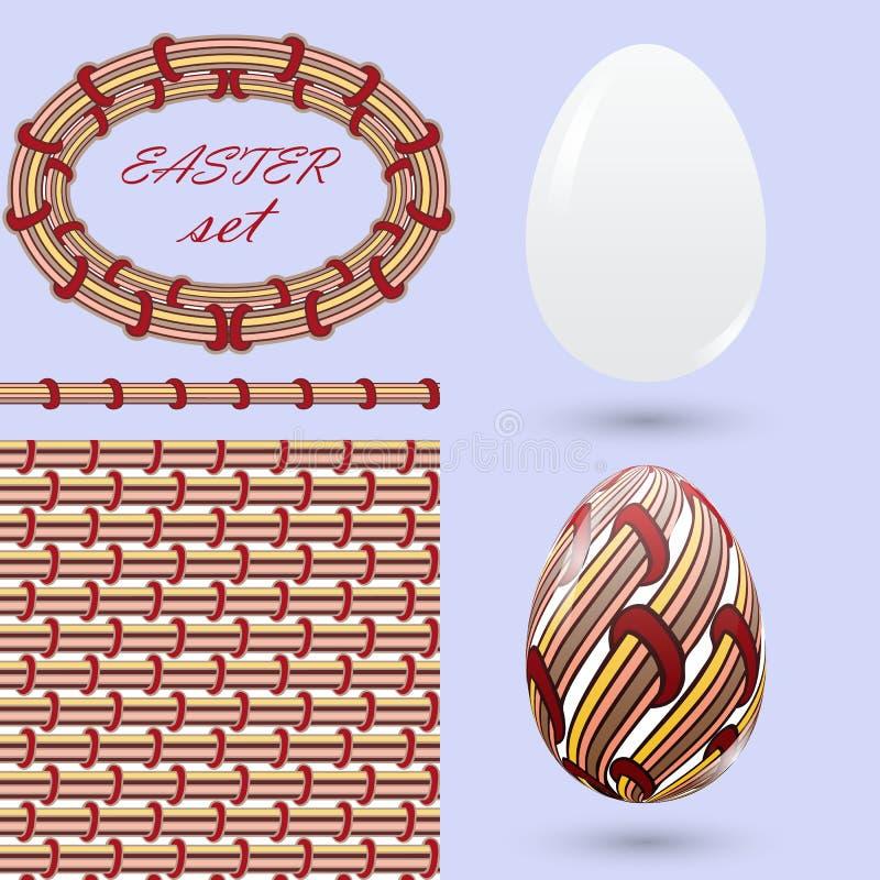 Ajuste com ovos da páscoa e elementos do projeto ao estilo do zenart Decorações feitos a mão da cor à moda do vintage para announ ilustração do vetor