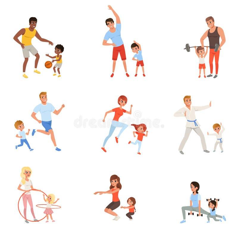 Ajuste com pais e suas crianças que fazem o esporte diferente exercitam Tempo da família Atividade e saudável físicos ilustração royalty free