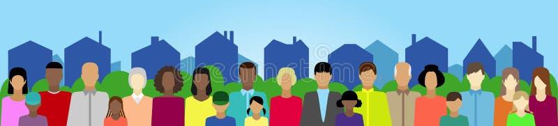 Ajuste com povos, família, eleitorado etc. na cidade ilustração do vetor