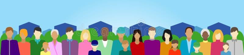 Ajuste com povos, família, eleitorado etc. no país ilustração stock