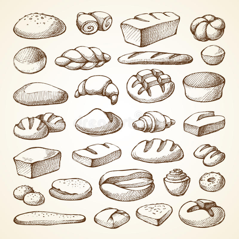 Ajuste com produtos da padaria ilustração royalty free