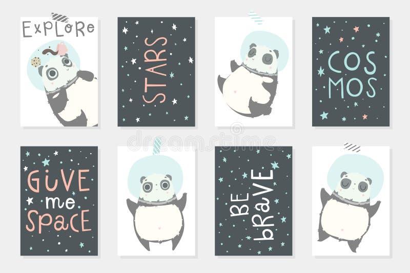 Ajuste com 8 redy para usar cartões com os astronautas bonitos das pandas nos capacetes, planetas, estrelas ilustração stock