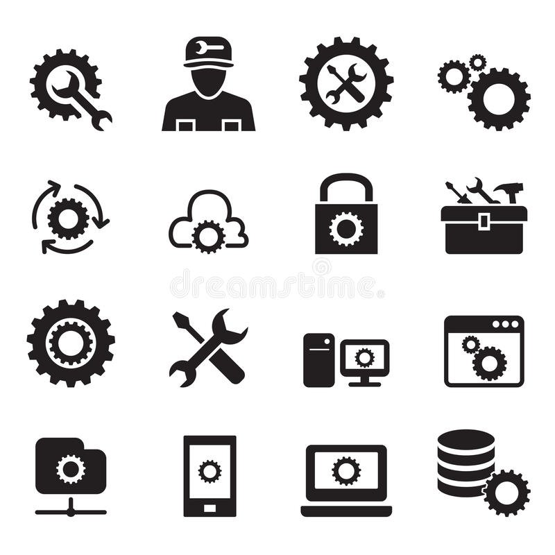 Ajuste, configuración, disposición, reparación, sistema de adaptación del icono stock de ilustración