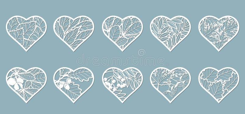 Ajuste, corações do estêncil com folhas Folhas do molde, carvalho, bordo, Rowan, castanha, bagas, bolota, sementes, vidoeiro, cin ilustração do vetor