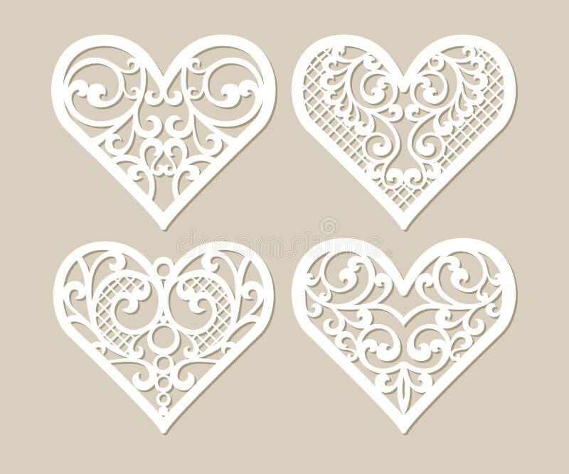 Ajuste corações laçado do estêncil com teste padrão a céu aberto cinzelado ilustração royalty free
