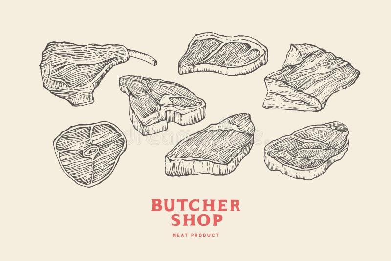 Ajuste cortes do vintage de carnes diferentes desenhados à mão As imagens da gravura para o conceito do ` s do fazendeiro introdu ilustração stock