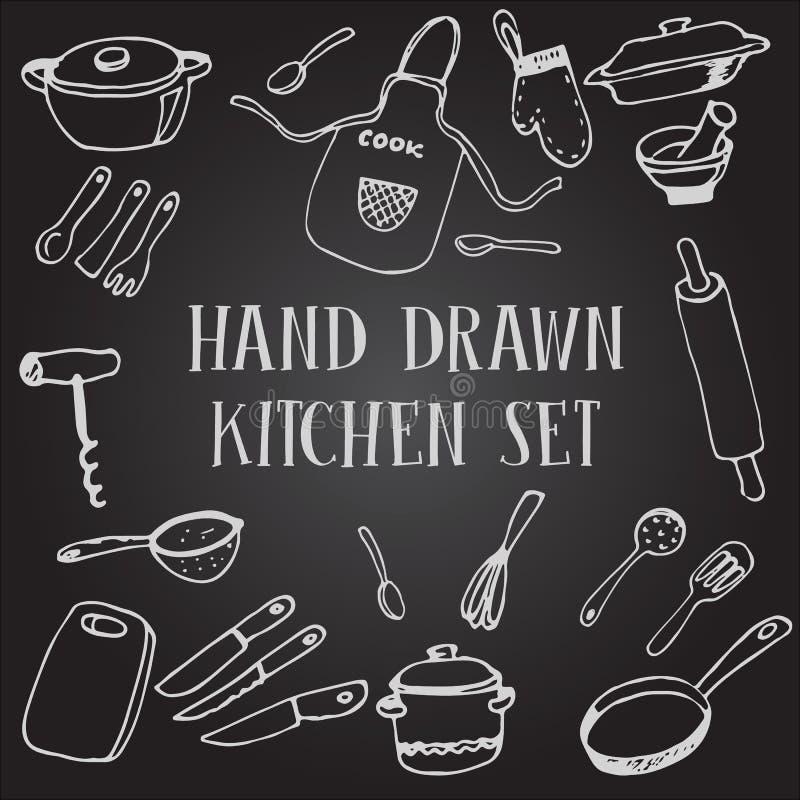 Ajuste a cozinha do desenho de giz fotografia de stock