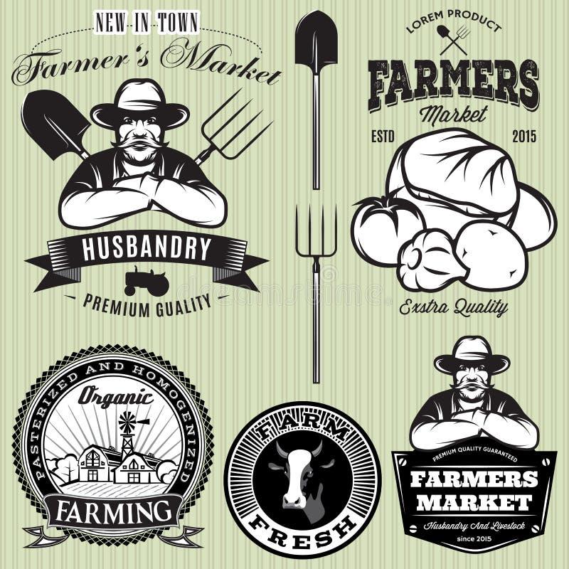 Ajuste crachás com o fazendeiro e os vegetais para os fazendeiros compram ilustração stock