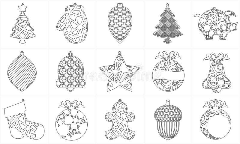 Ajuste da árvore de Natal moderna O brinquedo de ano novo para o corte do laser Ilustração do vetor ilustração royalty free