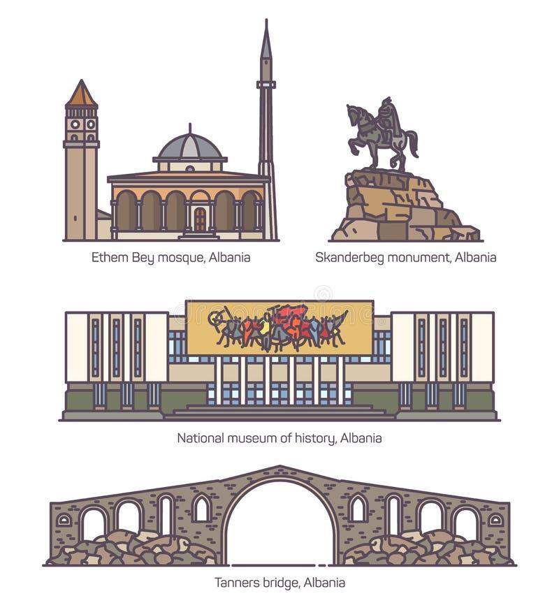 Ajuste da arquitetura velha famosa isolada de Albânia ilustração stock
