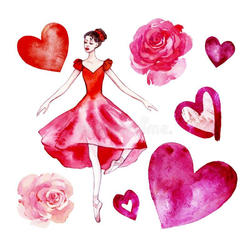 Ajuste da bailarina isolada da aquarela em um escarlate vermelho do vestido, rosas, corações ilustração royalty free