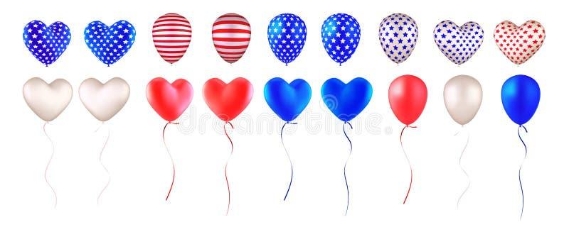 Ajuste da bandeira americana dos balões ilustração royalty free