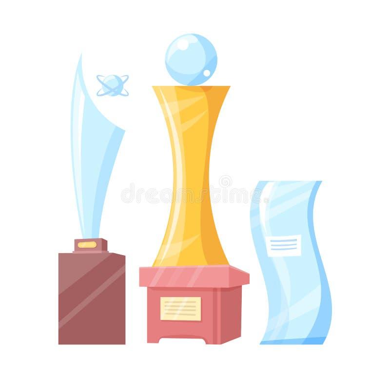 Ajuste da bandeira colorida das concessões douradas e de vidro ilustração royalty free