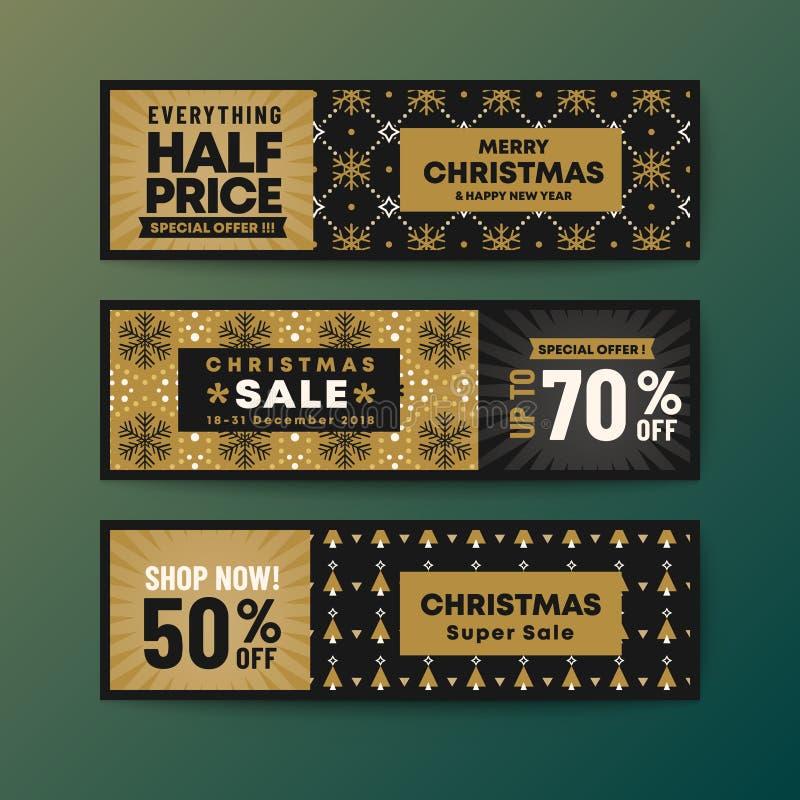 Ajuste da bandeira da Web do Natal do tema da cor do ouro ilustração royalty free
