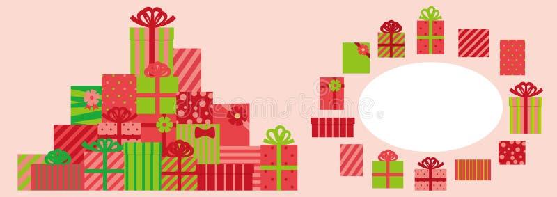 Ajuste da caixa bonito do presente de Natal e do quadro do círculo ilustração royalty free